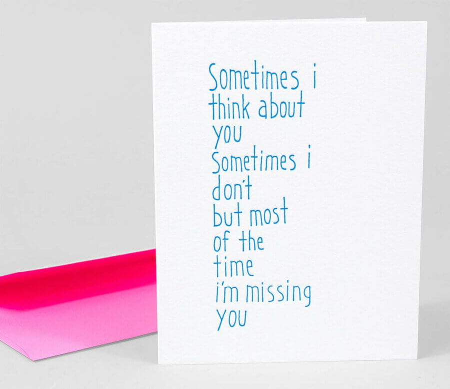 Ashkahn Sometimes I Think About You Notecard