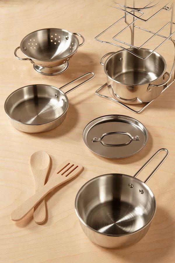Melissa & Doug Pots & Pans Stainless Steel Set of 8