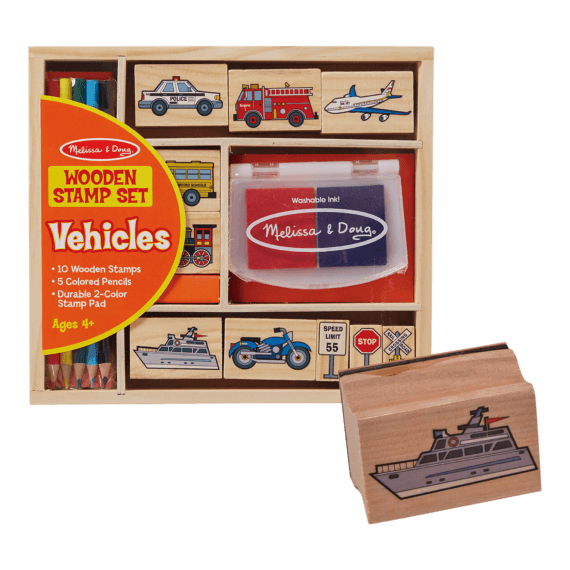 Melissa & Doug Wooden Stamp Set Vehicles